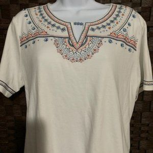 Alfred Dunner Size PXL White Pattern Top